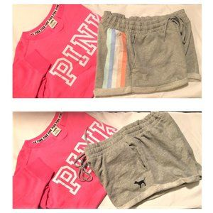 M 2 pc VS PINK boyfriend SHORTS gray sweat shirt
